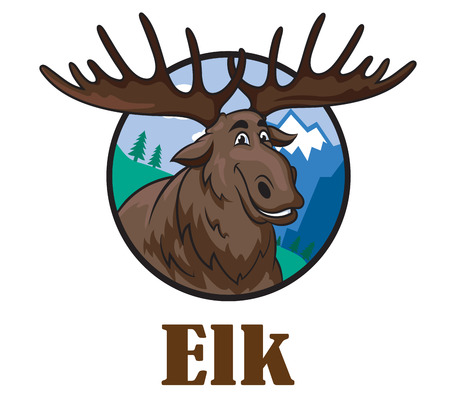 Cute funny cartoon smiling moose or elk with a big horns and mountain landscape. For wildlife design Illustration