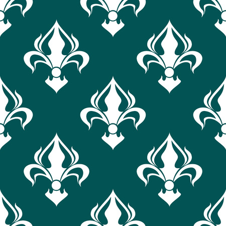Seamless floral fleur-de-lis royal white lily pattern on dark turquoise colored background. For wallpaper, tiles and fabric design Vector