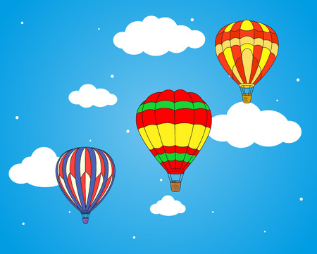 ballooning: Cartoon air balloons and clouds wallpaper, for journey, adventure and tourism backgrounds design Illustration