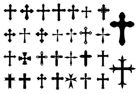 iglesia: S�mbolos Religi�n Cruz cristianismo conjunto aislado sobre fondo blanco para los Religiosos