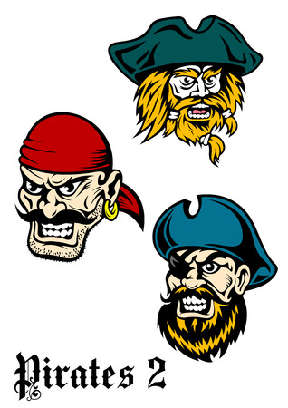 brutal: Cartoon brutal pirate captains set with mustaches, beards and hats. Suitable for historical, pirate adventures design Illustration