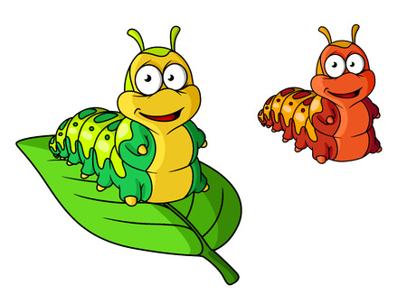 pupa: Cartoon cute caterpillar character isolated on white. Suitable for design, such as insects, kids illustration and wildlife Illustration