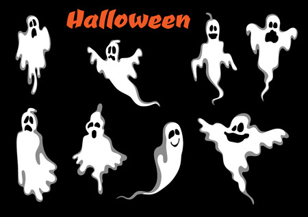 Night scary halloween ghosts set isolated on black background. For halloween party invitation and fear concept Vector