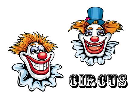payasos caricatura: Divertidos payasos de circo feliz de dibujos animados personajes con sombrero y nariz de la bola. Para circo y de entretenimiento de dise�o
