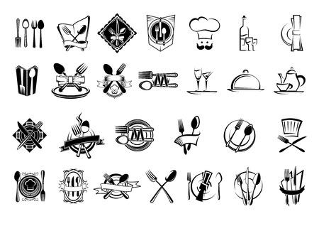 cubiertos de plata: Alimentos, restaurante y platería iconos