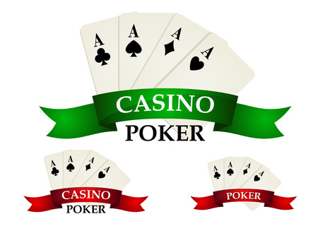 Casino gambling symbols and signs with poker cards and banner. For casino gamble or leisure design