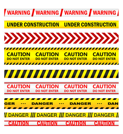 Yellow security warning tapes with text Warning, Under Construction, Caution, Do not enter, Danger. For web, police, detective, criminal and law design Vector