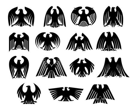 Adler Heraldik Silhouetten eingestellt. Isoliert auf weißem Hintergrund. Geeignet für Design, wie Tapeten, Fliesen, heraldische und Logo