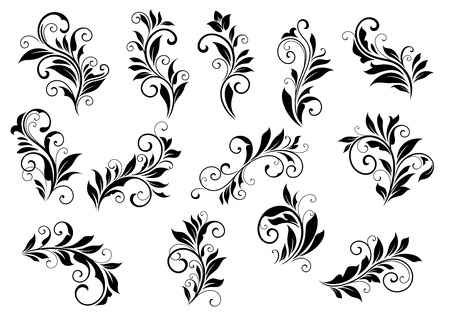 scroll tracery: Retro floral motifs and foliate retro vintage vignettes set isolated on white background