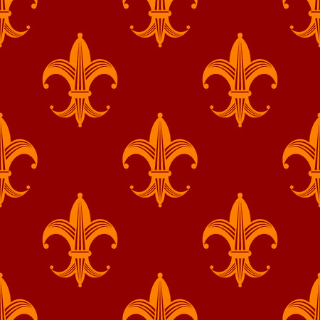 Seamless floral fleur de lys royal orange lily pattern for wallpaper, tiles and fabric design Vector
