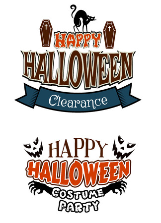 costume party: Two Halloween vector poster designs for a party and sale with text Happy Halloween, Clearance and Happy Halloween Costume Party with coffins, cats, skeletal hands and ghosts Illustration