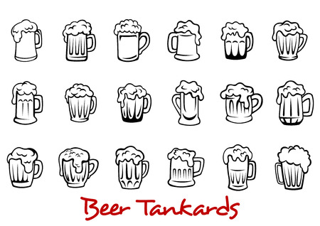 Outline pint tankards set of frothy beer isolated on white background, suitable for pub, Oktoberfest and bar design