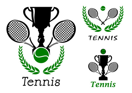 Tennis sporting emblems or logos set with ball, trophy cup, crossed rackets and laurel wreath isolated on white Vector