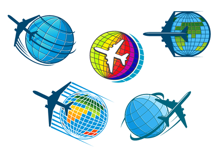 plane icon: Airplane and air travel icons with five colorful vector designs of jetliners flying around globes conceptual of vacations, business flights and tourism