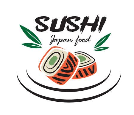 logo de comida: El rojo y el verde color emblema japon�s mariscos sushi con hojas de bamb� adecuado para el restaurante y el logotipo de alimentos de dise�o