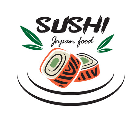 sushi: Red and green colored Japanese sushi seafood emblem with bamboo leaves suitable for restaurant and food logo design Illustration