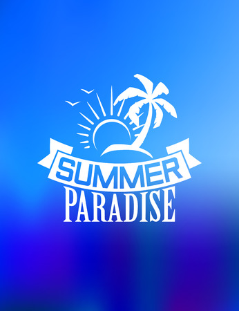 birds of paradise: Summer paradise poster design with  sun, waves, palms and birds for travel or leisure design Illustration