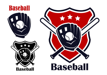 Retro baseball sport emblems or logos with ball, stars, bats,  glove and shield, isolated on white. For recreation , sports or logo design.  Vector