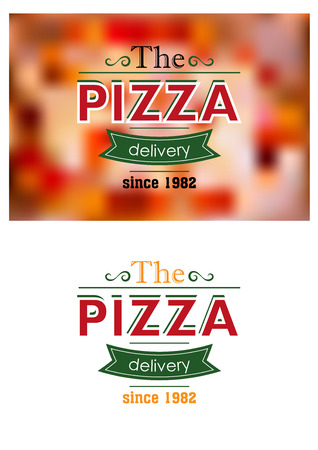 Delivery since 1982 retro pizza label or banner on colored and white background for cafe, restaurant or fast food menu design Vector