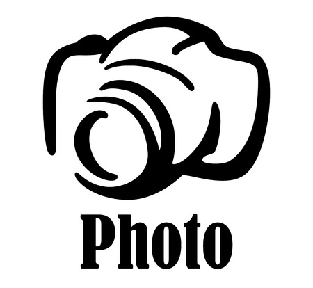 Black and white sketch digital camera icon or symbol for art photography design