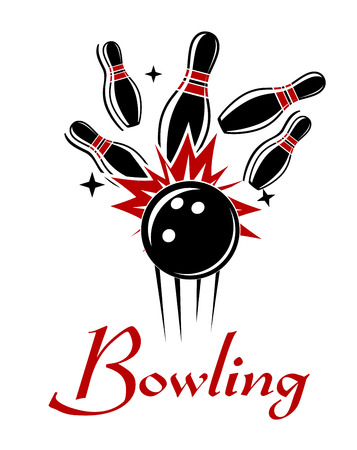 Expressive bowling emblem or logo with smashing ball and ninepins isolated on white colored background for sport or recreation design  Vectores