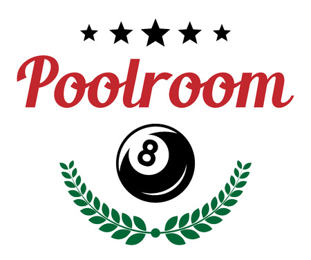 Poolroom and billiards retro emblem with a ball, stars and laurel wreath. For sport, recreation and logo design Vector
