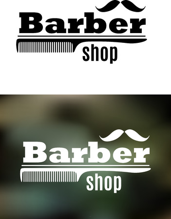 barber pole: Retro barber shop emblem with comb and mustaches on dark background