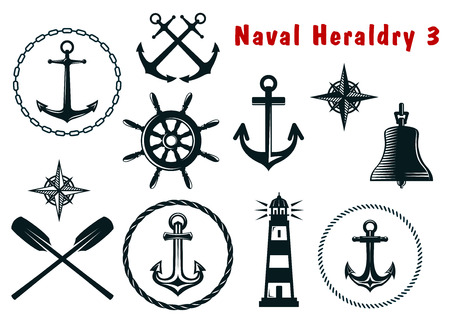 Set of naval heraldry icons with assorted marine anchors, crossed oars, ship wheel, compass, lighthouse and bell