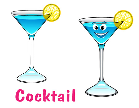 Cartoon happy cute cocktail character with lemon slice. For cafe, bar and restaurant menu design Vector