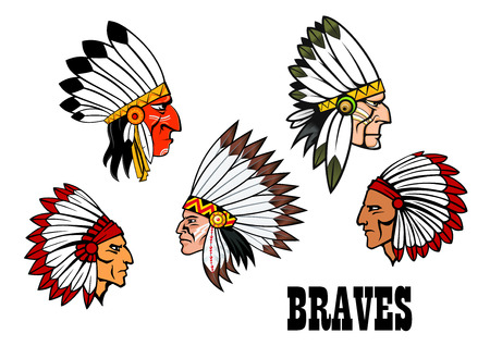 Сolorful cartoon native American Indian braves heads wearing feathered headdresses, side view in profile and text Braves. For american history,  ethnic or thanksgiving design