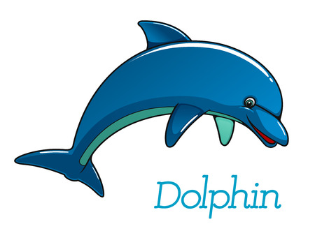 dolphin fish: Cute cartoon dolphin jumping in sea water for kids illustration and wildlife design Illustration