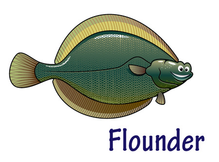 Cheerful sea flounder fish cartoon character isolated on white background. For animal, kids illustration and wildlife design