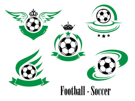 equipment: Set of football or soccer emblems with rushing balls, crowns, ribbon banners, wings, stars isolated on white for sporting design