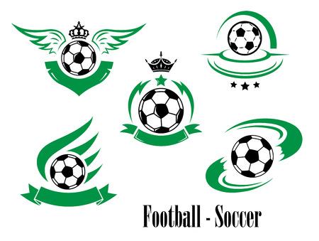 Set van voetbal of voetbal emblemen met haasten ballen, kronen, lint banners, vleugels, sterren geïsoleerd op wit voor sportieve ontwerp