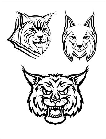 lince: Logo Cabeza de un lince salvaje o lince para Masot o la fauna de diseño, aislado sobre fondo blanco Vectores
