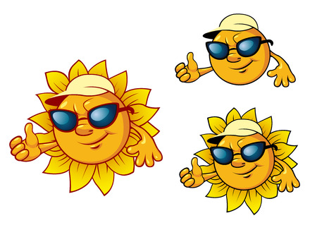 Cartoon style smiling cute sun character with sunglasses, baseball cap and greeting hand. For travel and leisure design