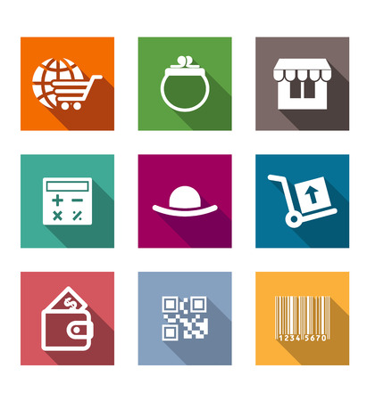Shopping business flat icons set with shopping cart, wallet, stand, calculator, purse, barcode Vector