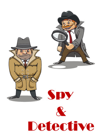 stereotypical: Spy and detective cartoon characters with a stereotypical unshaven spy hunched down in a great coat and an eager beaver smiling detective carrying a large magnifying glass. For security or police design Illustration