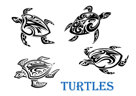 Swimming turtles set in tribal outline style isolated on white background. For tattoo or wildlife design