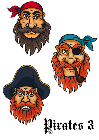 Cartoon fierce pirates and captains set for adventures, tattoo and mascot design Vector