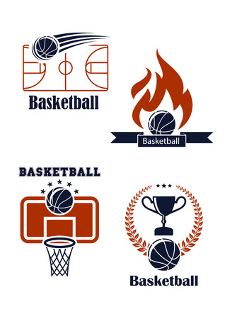 team sport: Basketball sport symbols with basketball balls, empty field, basket, board, fire, trophy cup and laurel wreath for sporting design