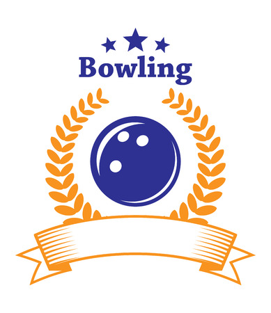 Retro bowling emblem or logo with ball, laurel wreath, banner and stars isolated on white background, for sport or leisure design  Vector