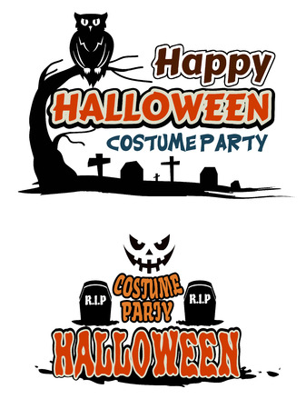 Halloween party themes with orange text decorated with tombstones, a graveyard, owl in a tree and face of a ghost Vector