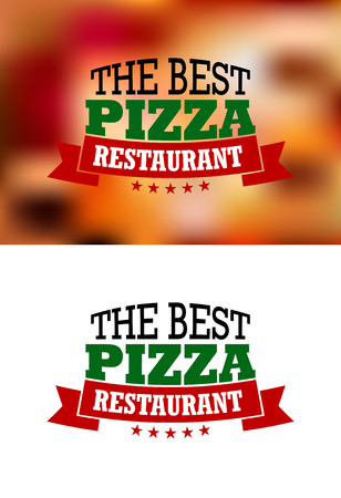Italian best pizza restaurant logo, banners or labels, isolated on white or colored background, for fast food industry design