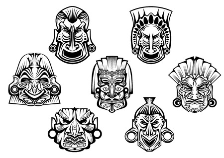 cult tradition: Religious masks in ancient tribal style isolated on white for religious, tattoo or historical design