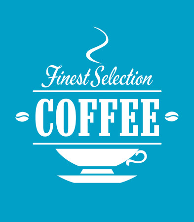 finest: Finest selection coffee banner with cup, saucer, steam and beans for beverage, cafe or restaurant menu design