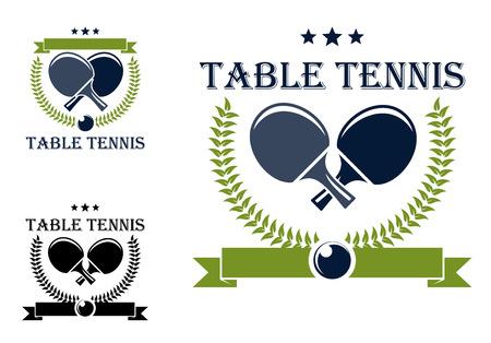 탁구 또는 탁구 라켓, 별, 월계관 및 스포츠 로고 디자인에 흰색으로 격리 공을 테니스 일러스트