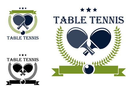Table tennis or table tennis symbols with rackets, stars, laurel wreath and ball isolated on white for sports logo design Çizim
