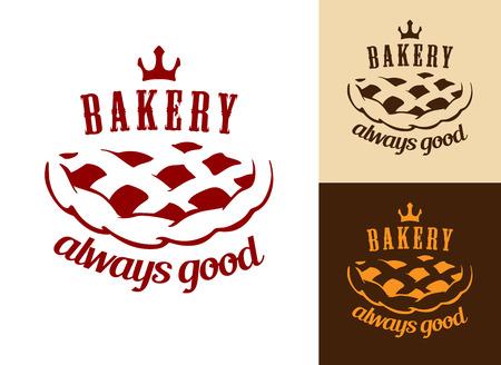 pastel de manzana: Siempre es una buena panader�a s�mbolo comida con tarta de manzana y el cuervo de panader�a o dise�o dulce