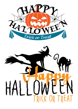 Happy Halloween Trick or Treat themes with text decorated with a jack-o-lantern pumpkin and spiders and the other with a silhouette of a flying witch on a broomstick with a cat Vector